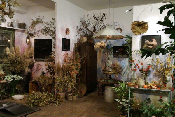 Interni del negozio di fiori Bollettini a Milano
